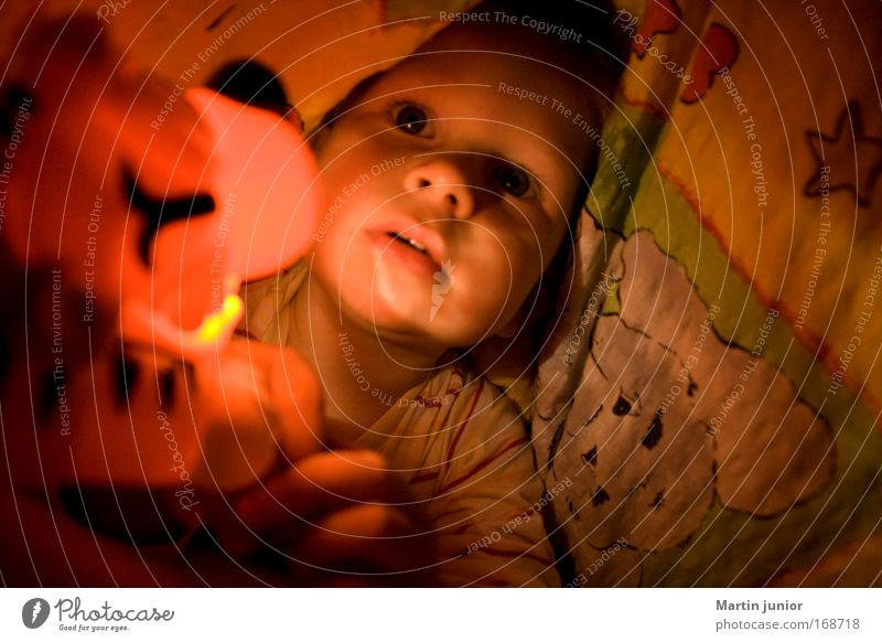 Human being Child Red Yellow Playing Boy (child) Head Happy Dream Moody Infancy Lie Masculine Bed Bedclothes Toddler