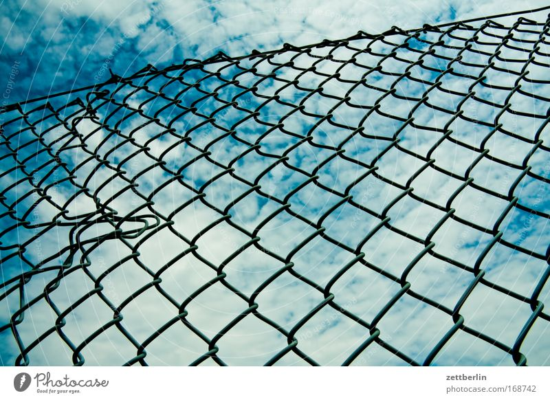 Sky Summer Clouds Border Fence Blue sky Neighbor Possessions Sky blue Filter Loop Filter Boundary Real estate Wire netting fence Wire netting