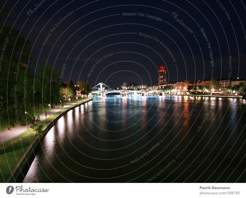 Water City Black House (Residential Structure) Life Horizon Large Bridge Illuminate Change Skyline Downtown Frankfurt Night Night sky Stock market