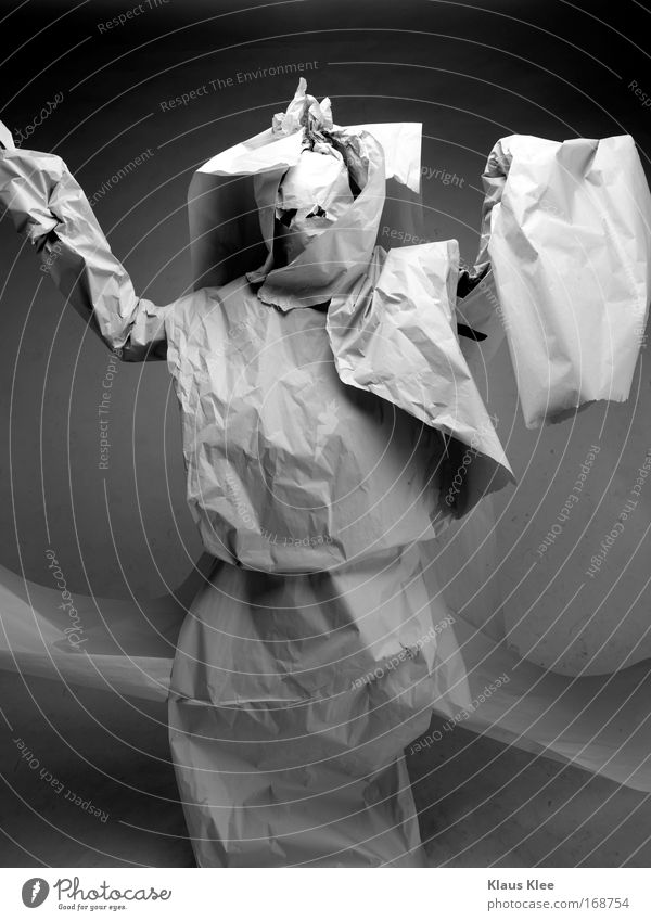 Human being Man White Black Gray Fashion Art Dance Wild Masculine Decoration Paper Newspaper Creepy Stage play Anger
