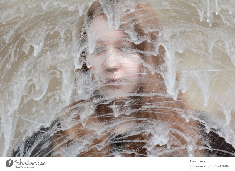 behind Feminine Girl Young woman Youth (Young adults) Woman Adults 1 Human being Esthetic Protection Foam Backwards Concealed Flow Structures and shapes Blur