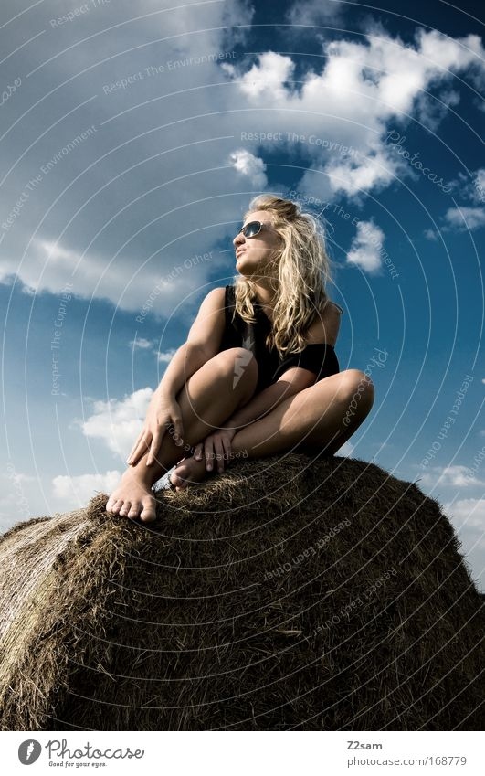 lena in heaven Colour photo Exterior shot Looking away Human being Feminine 1 18 - 30 years Youth (Young adults) Adults Landscape Sky Clouds Grass Field Village