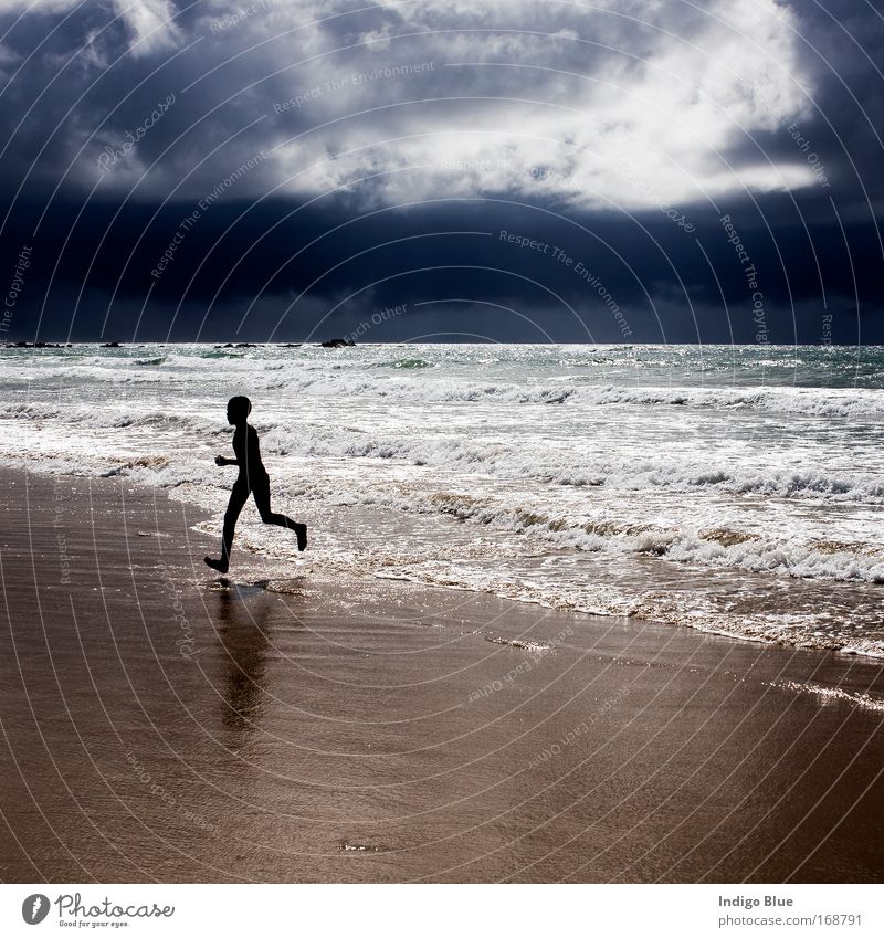 Running from the Storm Colour photo Exterior shot Day Light Contrast Silhouette Reflection Low-key Vacation & Travel Summer Summer vacation Beach Ocean Waves