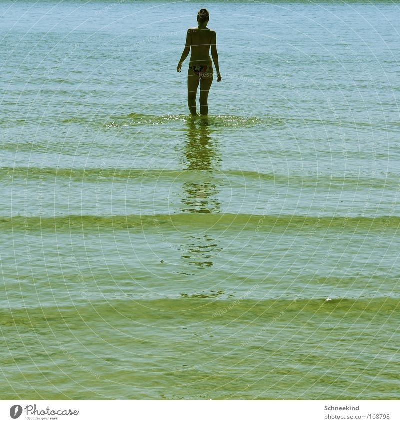 Human being Youth (Young adults) Water Summer Beach Calm Adults Relaxation Feminine Movement Happy Coast Lake Contentment Back Trip