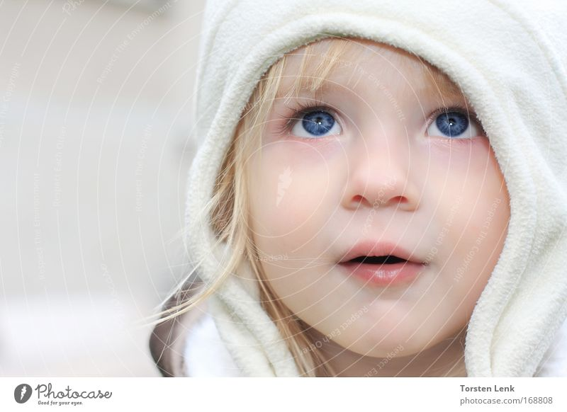 Human being Child Blue Beautiful Girl Face Eyes Yellow Emotions Gray Head Small Dream Moody Blonde Esthetic