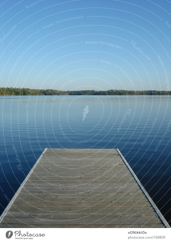 Sky Nature Blue Water Vacation & Travel Summer Calm Lake Natural Beautiful weather Summer vacation Fishing (Angle) Footbridge Cloudless sky Peaceful