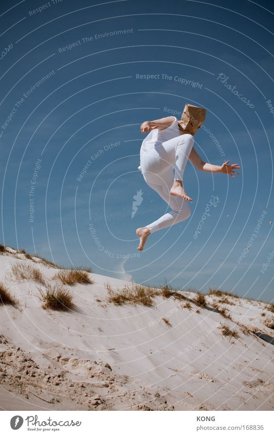 rib scarecrow Copy Space left Worm's-eye view Joy Happy Playing Freedom Summer Beach Track and Field Sportsperson Beautiful weather Airplane Aircraft Underwear