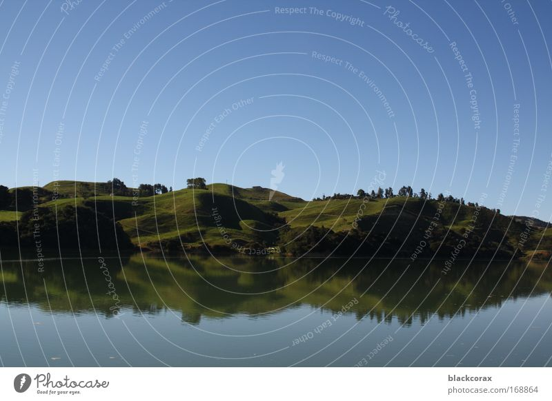 mirrorlake Colour photo Exterior shot Deserted Day Reflection Landscape Hill Lake Kahwia New Zealand Pure The Shire