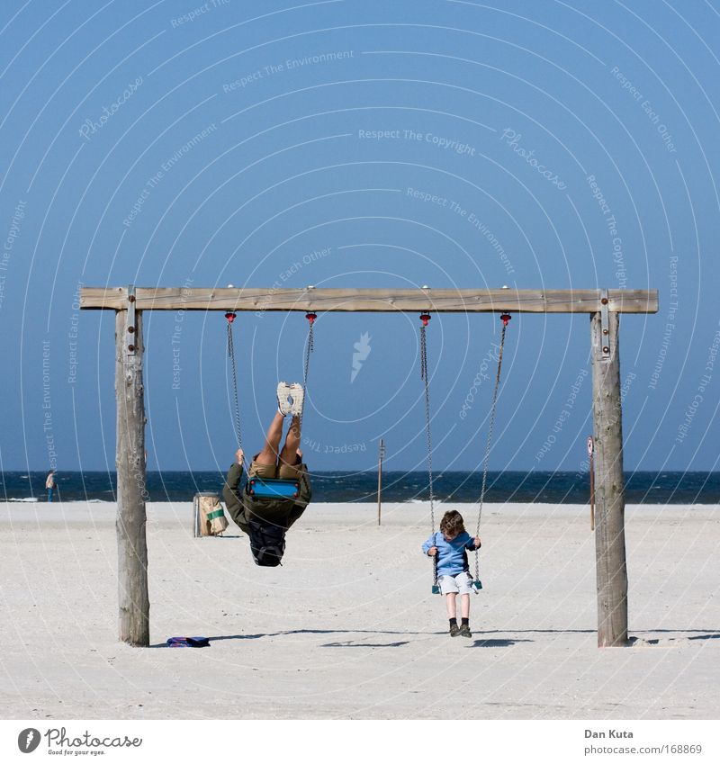 Swings: pro and contra Colour photo Multicoloured Exterior shot Copy Space top Copy Space bottom Day Shadow Deep depth of field Long shot Downward Human being