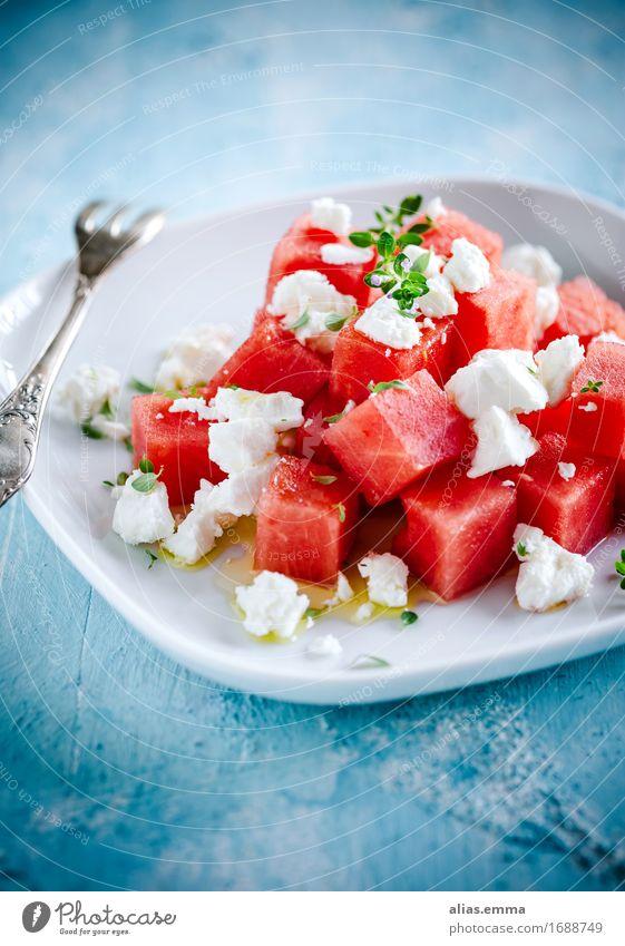 "Watermelon-Feta Salad Food Dairy Products Lettuce Fruit ""Watermelon feta Feta cheese Herbs,"" Nutrition Vegetarian diet Greece Mediterranean Summer Eating"