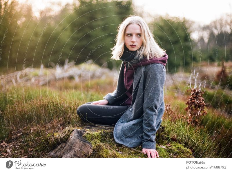 lara.on.film Feminine Young woman Youth (Young adults) 1 Human being 18 - 30 years Adults Nature Landscape Forest Fashion Jacket Coat Scarf Blonde Sit Brown