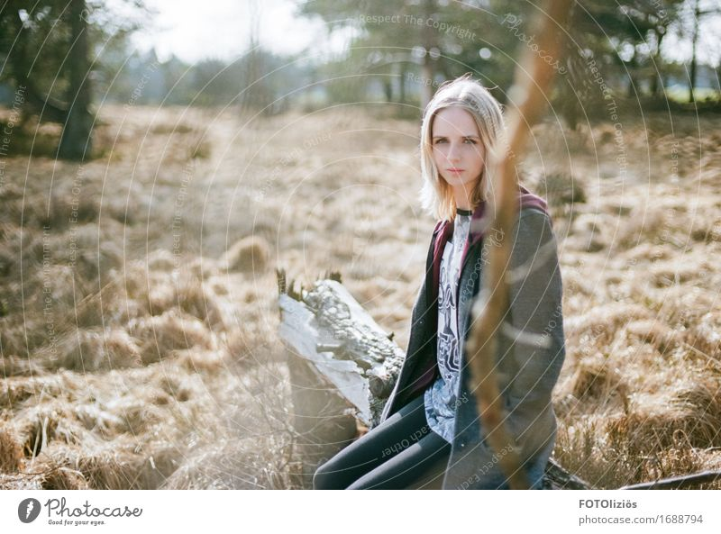 Human being Child Woman Nature Youth (Young adults) Young woman Green Landscape Calm Forest Face Adults Environment Yellow Feminine Brown