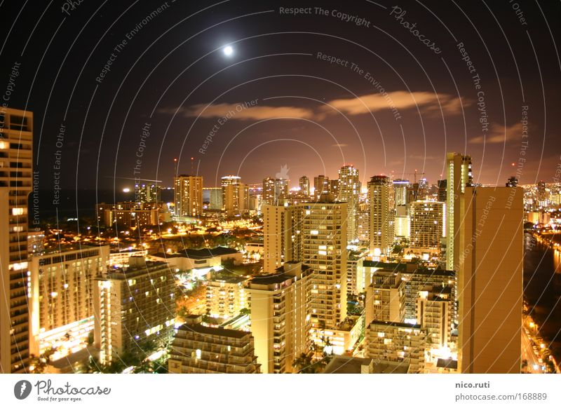 Honolulu by Night Moon Full  moon Dark Town High-rise Skyline Waikiki Beach Hawaii Oahu Night life light pollution USA Long exposure Vacation mood Balcony