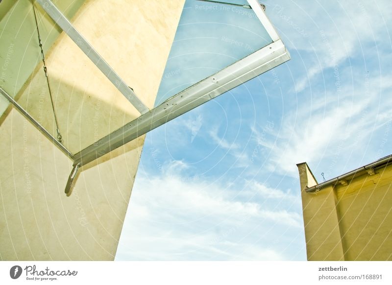 canopy Saxony-Anhalt aschersleben Germany Masonry Sky Wall (barrier) Medieval times Summer Clouds Roof Canopy Glass roof Window pane Slice Worm's-eye view