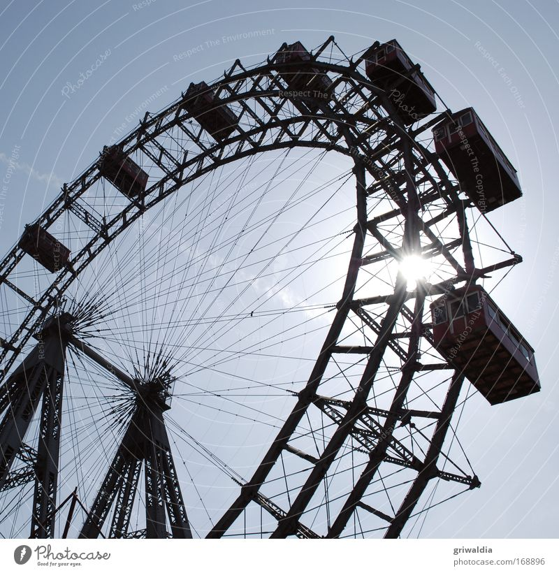 Sky Sun Trip Beautiful weather Austria Steel Landmark Nostalgia Tourist Attraction Cloudless sky Section of image Vienna Partially visible Ferris wheel Famousness Amusement Park