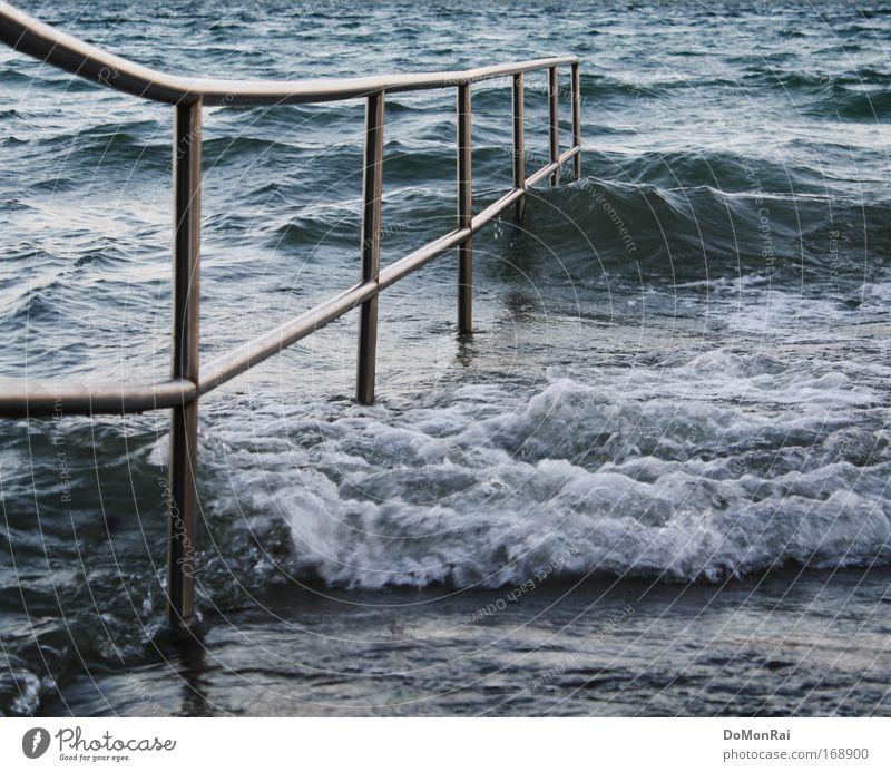 Nature Water Blue Beach Gray Coast Lake Germany Waves Going Walking Wet Elements Village Steel Handrail