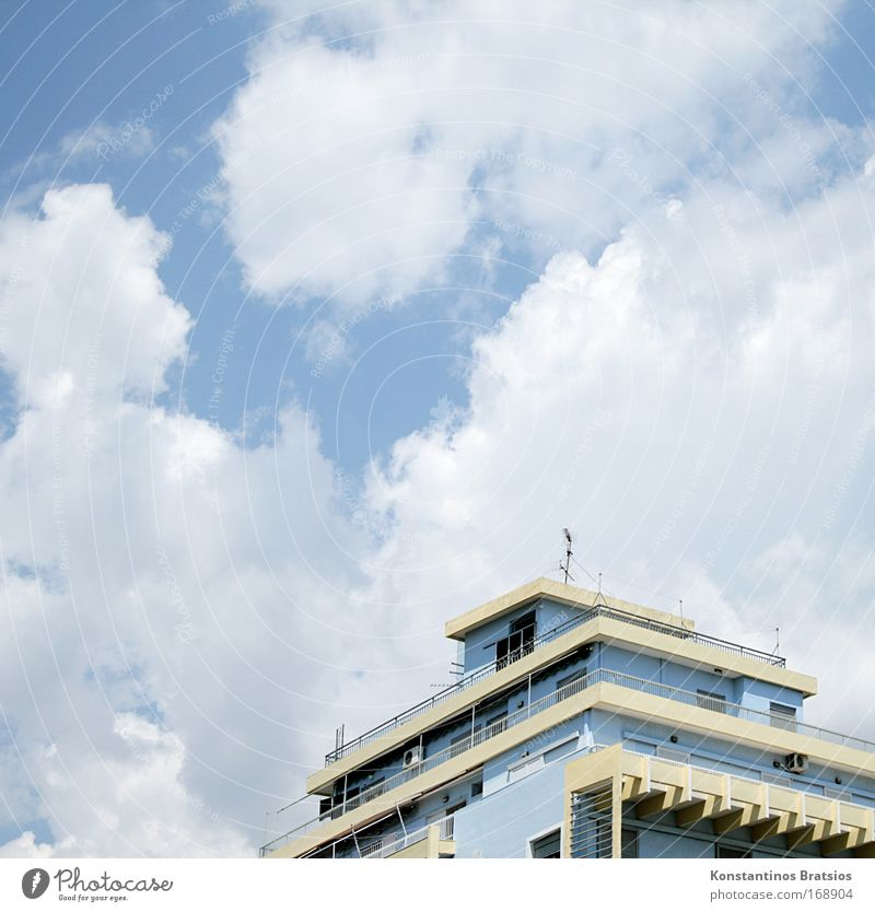 Sky Blue White Summer Clouds House (Residential Structure) Architecture Warmth Bright Facade Concrete Europe Living or residing Gloomy Roof Simple