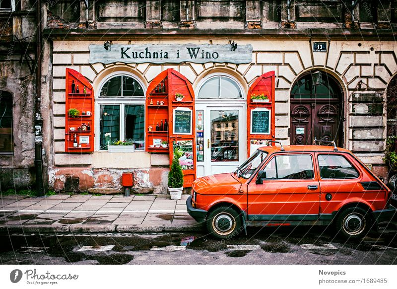Kuchnia i Wino in Kraków House (Residential Structure) Restaurant Town Building Architecture Street Car Red street photography Krakow Vine Small car