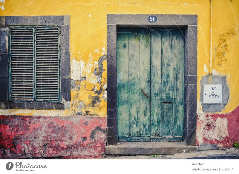 Modernized Cable Deserted House (Residential Structure) Dream house Wall (barrier) Wall (building) Facade Window Door Street Old Yellow Gray Green Red Flake off