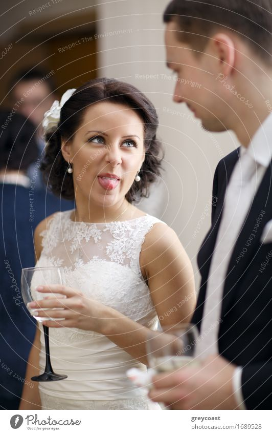 Bride and groom enjoy a drink at the wedding Joy Happy Beautiful Face Feasts & Celebrations Wedding Young man Youth (Young adults) Woman Adults