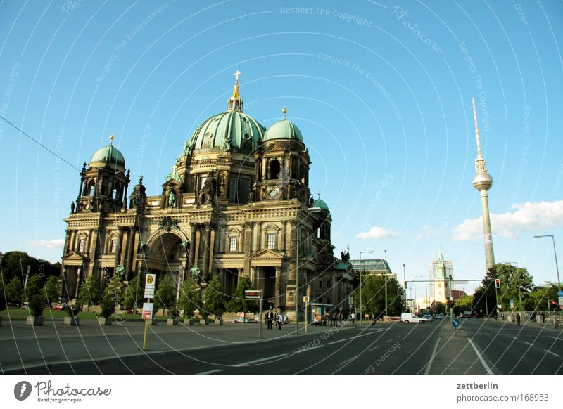 Sky Summer Street Berlin Germany Road traffic Church Tourism Middle Downtown Dome Berlin TV Tower Capital city Blue sky Television tower Sky blue