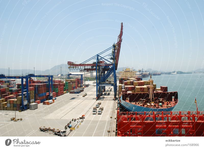 Watercraft Bright Large Growth Logistics Harbour Hot Luxury Container ship On board