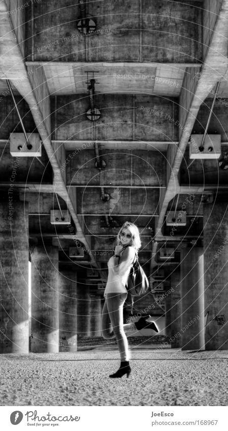 urban chic Style Joy Beautiful Freedom Feminine Woman Adults 1 Human being Bridge Architecture Fashion Clothing Accessory Jewellery Blonde Long-haired