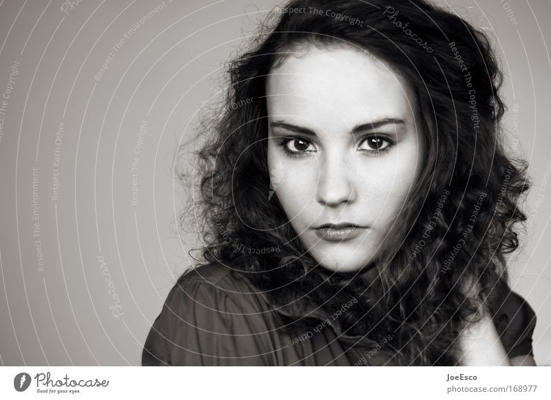 first contact Black & white photo Copy Space left Portrait photograph Looking Elegant Beautiful Woman Adults 1 Human being 18 - 30 years Youth (Young adults)