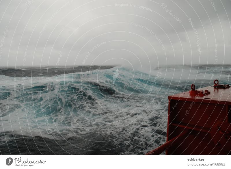 Waves Watercraft Wind Large Dangerous Gale Weather Storm Navigation White crest Bad weather Container ship On board