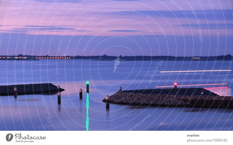 drive Landscape Sky Clouds Night sky Horizon Sunrise Sunset Summer Beautiful weather Baltic Sea Navigation Motorboat Harbour Brown Green Violet Red