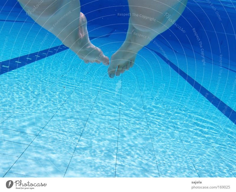 barefoot in the pool Colour photo Underwater photo Pattern Structures and shapes Copy Space bottom Deep depth of field Swimming & Bathing Leisure and hobbies