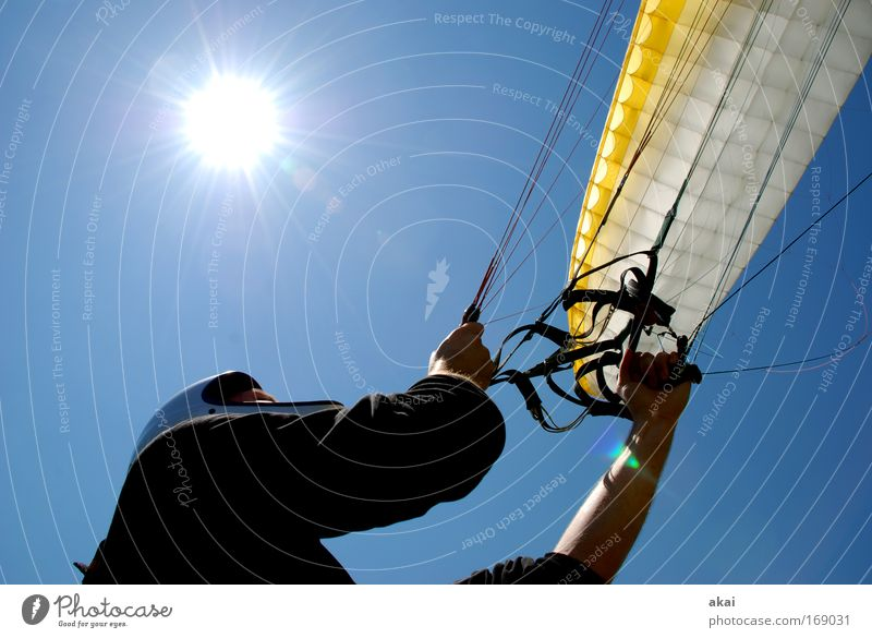 Human being Man White Blue Joy Yellow Sports Movement Adults Masculine Aviation Adventure Leisure and hobbies Joie de vivre (Vitality) To hold on Beautiful weather