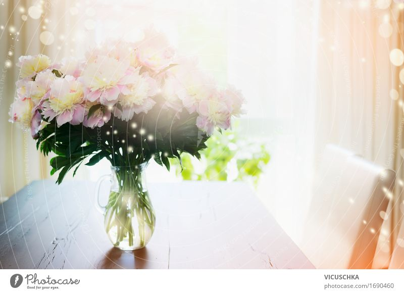 Bouquet of flowers in glass vase on the table in front of the window Lifestyle Design Summer Living or residing Flat (apartment) Dream house Arrange
