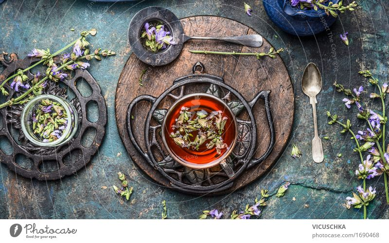 Cup of herbal tea with fresh herbs and flowers. Beverage Hot drink Tea Crockery Spoon Lifestyle Style Healthy Alternative medicine Healthy Eating Fragrance Cure