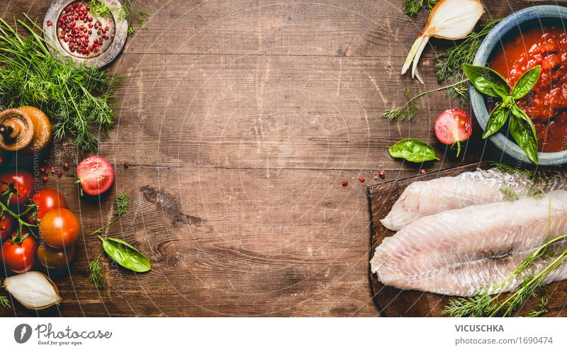 Healthy Eating Food photograph Life Style Food Design Nutrition Table Fish Herbs and spices Kitchen Vegetable Flag Organic produce Restaurant Crockery