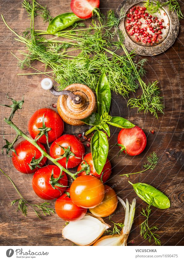 Fresh red tomatoes with herbs Food Vegetable Lettuce Salad Herbs and spices Nutrition Organic produce Vegetarian diet Diet Italian Food Crockery Bowl Style