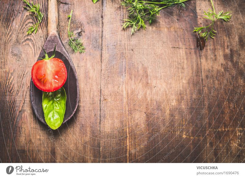 Wooden spoon with basil leaf and tomato Food Vegetable Lettuce Salad Herbs and spices Nutrition Lunch Dinner Italian Food Spoon Style Design Healthy Eating Life