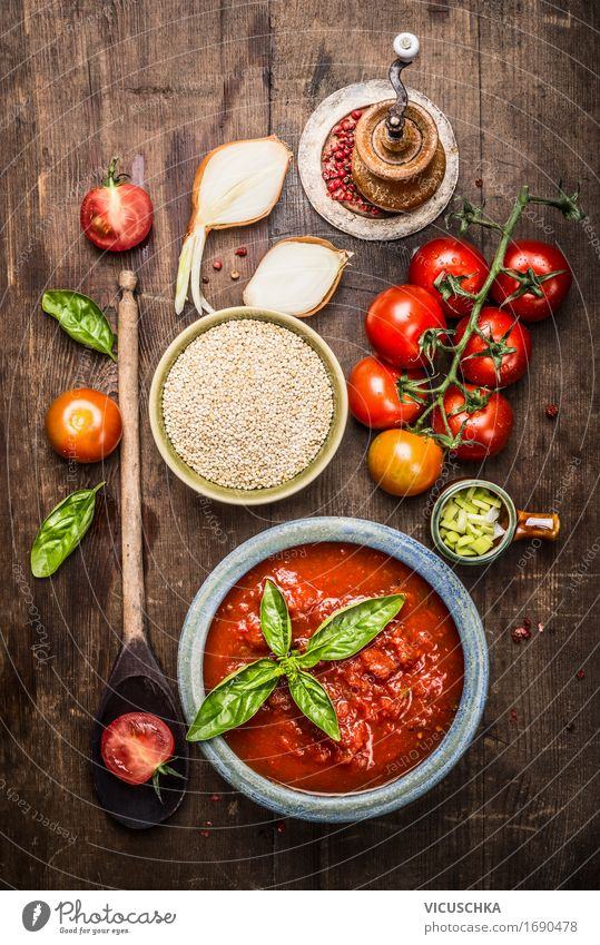 Quinoa with tomato sauce and fresh ingredients Food Vegetable Grain Herbs and spices Nutrition Lunch Buffet Brunch Organic produce Vegetarian diet Diet