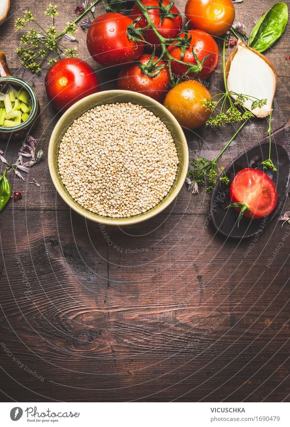 Healthy Eating Life Food photograph Style Design Living or residing Nutrition Table Herbs and spices Kitchen Vegetable Grain Organic produce Bowl
