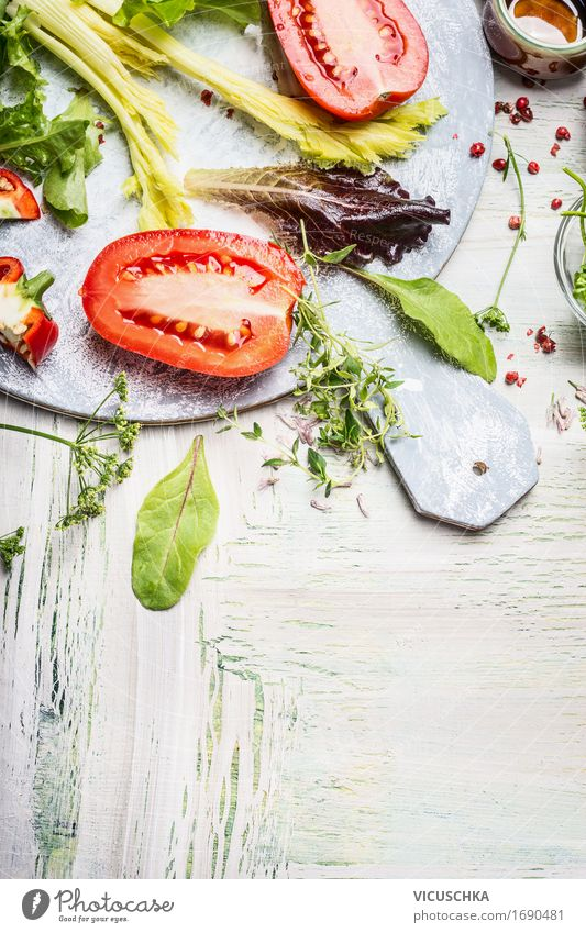 Fresh ingredients for a delicious salad Food Vegetable Lettuce Salad Herbs and spices Nutrition Lunch Buffet Brunch Organic produce Vegetarian diet Diet Style