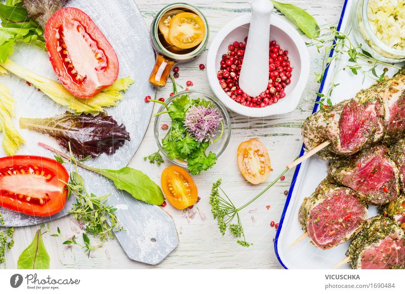 Preparation of meat skewers with vegetable ingredients Food Meat Vegetable Herbs and spices Cooking oil Nutrition Lunch Buffet Brunch Banquet Picnic