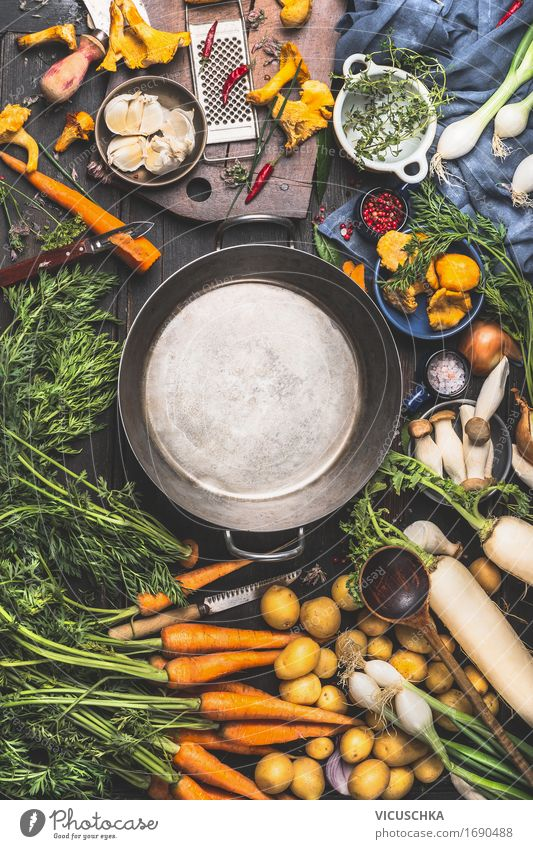 Empty saucepan and vegetable ingredients for cooking Food Vegetable Herbs and spices Cooking oil Nutrition Lunch Dinner Organic produce Vegetarian diet Diet
