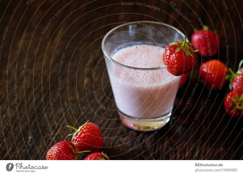strawberry shake Food Beverage Cold drink Milk Glass Wood Delicious Sense of taste Strawberry Strawberry shake Milkshake Fruit Fruity Sweet Colour photo