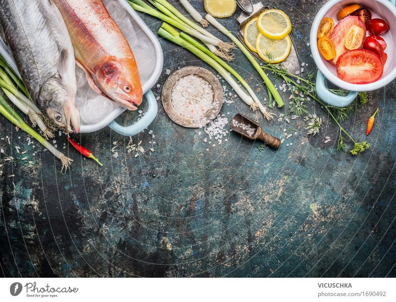 Fish dish Preparation Food Vegetable Herbs and spices Cooking oil Nutrition Lunch Organic produce Vegetarian diet Diet Slow food Crockery Style Design