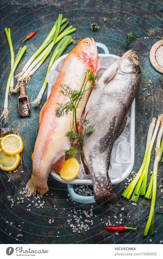 Trout with ice cubes and fresh ingredients for cooking Food Fish Vegetable Herbs and spices Nutrition Lunch Dinner Organic produce Diet Crockery Style Design