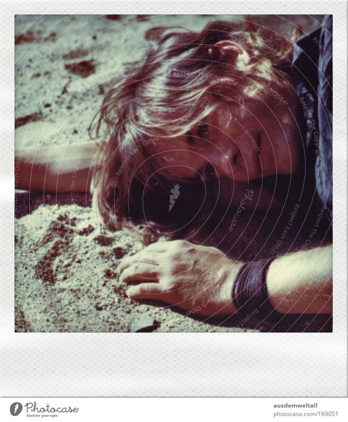 Tired Sandman Colour photo Multicoloured Exterior shot Close-up Polaroid Day Light Shadow Contrast Portrait photograph Downward Looking away Human being
