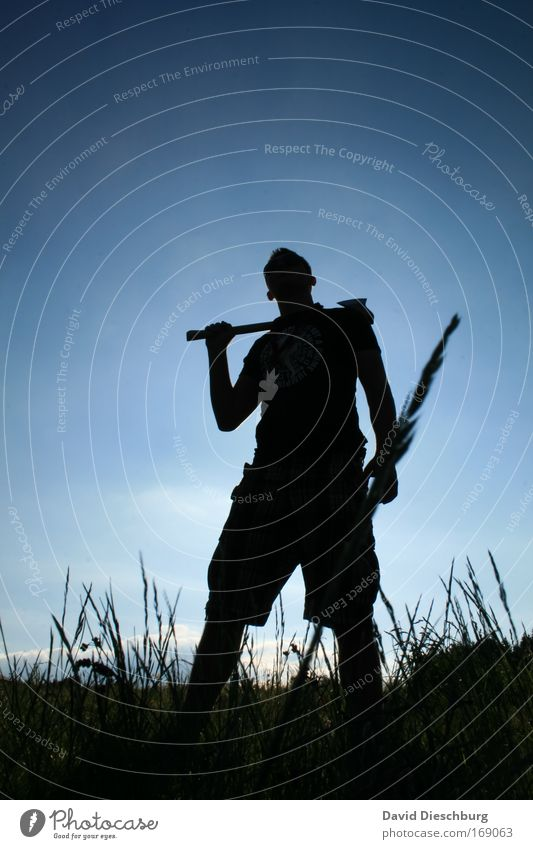 Human being Sky Nature Blue Plant Black Meadow Grass Stand Individual Posture Working man Tool Axe 1 Person Woodcutter