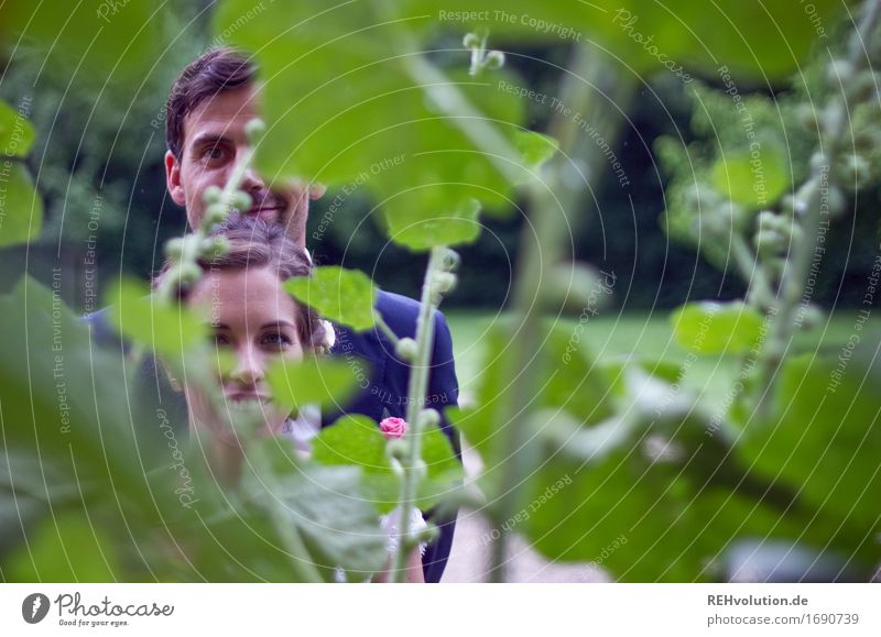 Nice day. Through the flower. Feasts & Celebrations Wedding Human being Masculine Feminine Young woman Youth (Young adults) Young man Woman Adults Man Couple