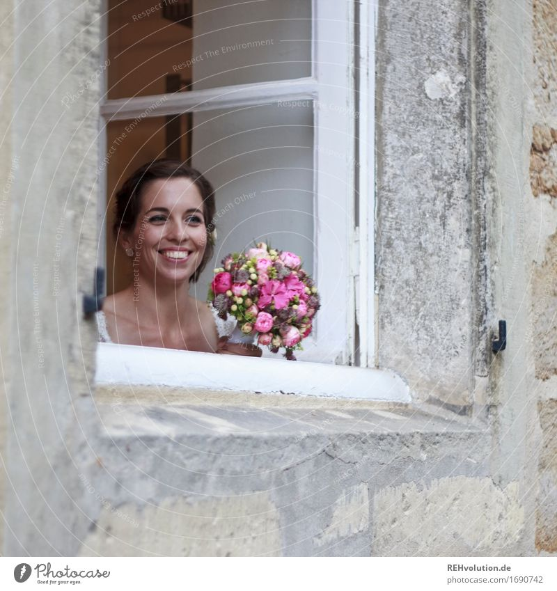 Happy day, bride by the window. Feasts & Celebrations Wedding Human being Feminine Young woman Youth (Young adults) Face 1 18 - 30 years Adults Flower