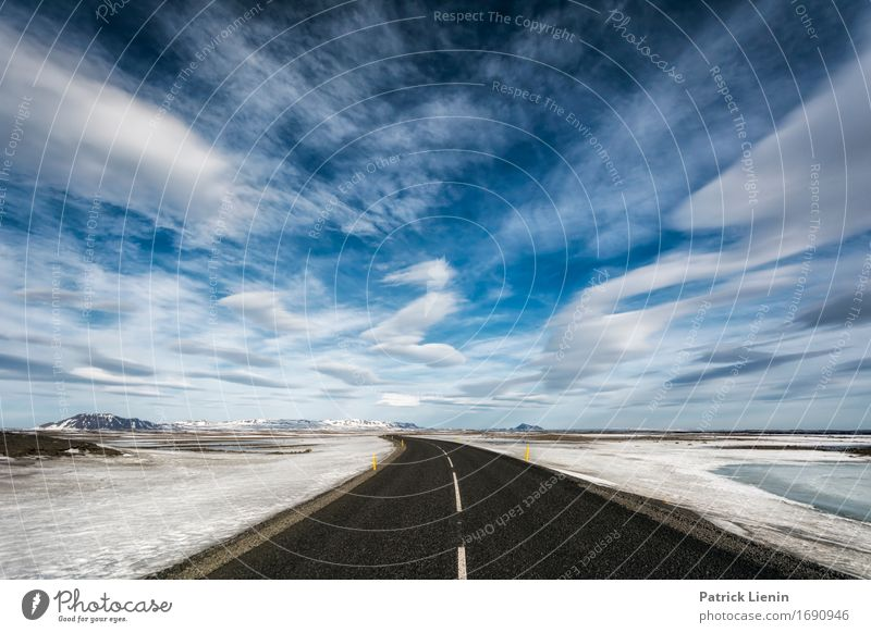 Road through the clouds Sky Nature Vacation & Travel Landscape Loneliness Clouds Winter Mountain Environment Street Life Lanes & trails Earth Horizon Weather